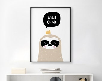 Scandi Wild Child Sloth Print