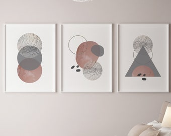 Set of 3 Peach Grey Glass Textured Abstract Prints