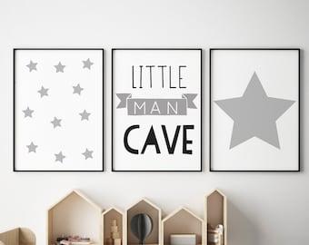 Set of 3 Little Man Cave Grey Banner Prints