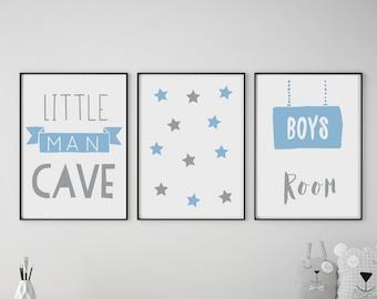 Man Cave Mountains Black Word Kids Play Boys Bed Room Wall Art Print Decor Gift