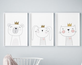 Set of 3 Scandinavian Drawn Animals Prints