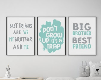 Set of 3 Gallery Wall Art Poster Prints Best Friends Brother Don't Grow Up Trap Grey Mint Boys Play Room Nursery Kids Decor Giclée Pictures