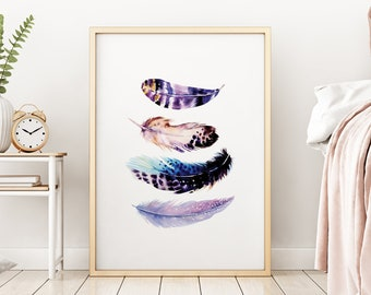 Bird Feather Abstract Purple Mix Tropical Gallery Wall Art Giclee Poster Prints | Minimal Kitchen Living Sign Bedroom Home Decor Pictures