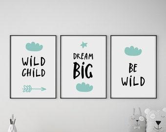 Set of 3 Wild Child / Dream Big Mint and Black Prints