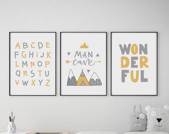 Set of 3 Man Cave / Mountains Mustard & Grey Prints