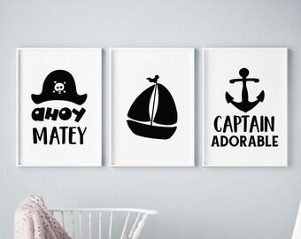Set of 3 Captain Adorable Pirate Ship Prints