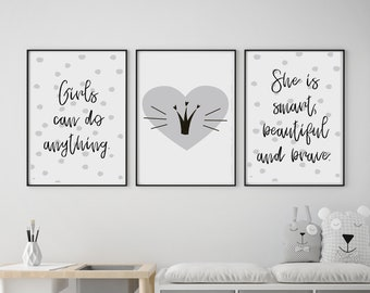Set of 3 Gallery Wall Art Poster Prints | Girls Can Do Anything Crown Beautiful Grey & White Girls Room Nursery Kids Decor | Giclée Pictures