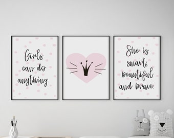 Set of 3 Girls Can Do Anything Pink Prints