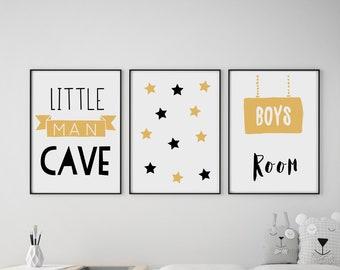 Set of 3 Little Man Cave / Boys Room / Stars Mustard & Black Prints