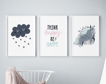 Set of 3 Gallery Wall Art Poster Prints | Think Happy Unicorn Floral Magic Cloud | Pink & Navy Girls Room Nursery Kids Decor | Pictures