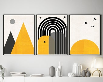 Set of 3 Mustard Rainbow Prints
