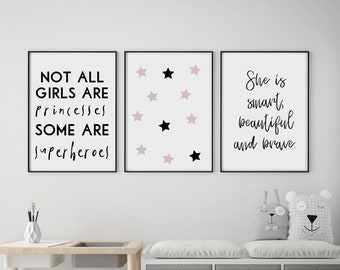 Set of 3 Gallery Wall Art Poster Prints | Not All Princesses Superheroes Beautiful Brave Pink Girls Room Nursery Kids Decor Giclée Pictures