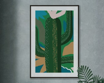 Cactus Jungle Green Plant Leaves Colour Print