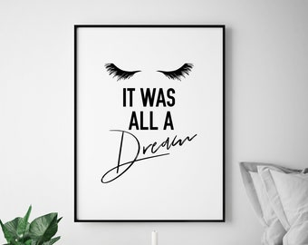 All a Dream Bedroom Fashion Lashes Illustration Mascara Humour Make Up Inspirational Fine Art Poster Print Giclee Home Decor Picture Wall