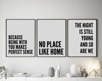 Set of 3 No Place Like Home | Lyric Art Prints
