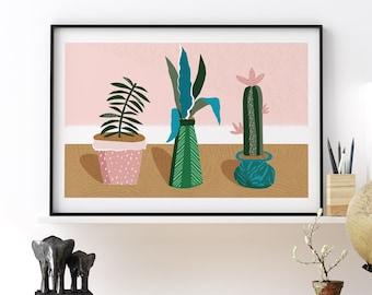 Green Cactus Plant Set Print