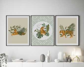 Set of 3 Wild Collection Tiger Prints