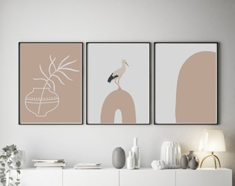 Set of 3 Abstract Inspired Bird on Rainbow Pink Prints