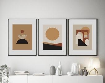 Set of 3 Abstract Mica Sun Prints