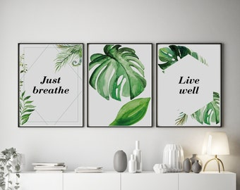 Set of 3 Exotic Plant Prints