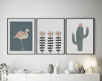 Set of 3 Abstract Inspired Flamingo and Cactus Prints