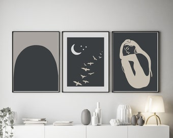 Set of 3 Abstract Inspired Night Sky Prints