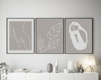 Set of 3 Abstract Inspired Line Art Prints