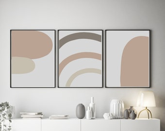 Set of 3 Abstract Inspired Pink and Beige Prints