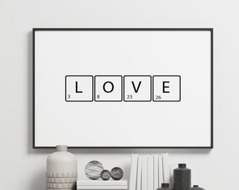 Love Letters Family Table Black Quote Gift Bedroom Inspirational Typography Decor Home Wall Art Poster Giclée Print Picture Framed Gallery