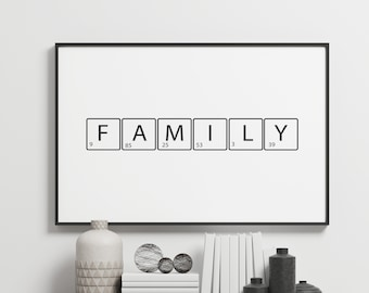 Family Letters Black Table Love Quote Gift Bedroom Inspirational Typography Decor Home Wall Art Poster Giclée Print Picture Framed Gallery