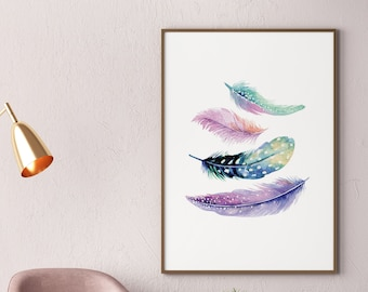 Bird Feather Turquoise Print