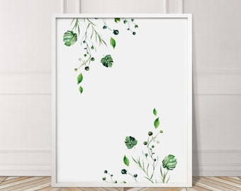 Top Bottom Leaf Exotic Green Plant Leaves Tropical Gallery Wall Art Giclée Poster Print Minimal Kitchen Living   Bedroom Home Decor Picture
