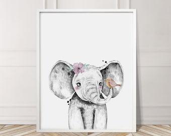 Safari Babies Elephant Flowers Animal Print
