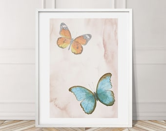 Butterflies Beige Exotic Green Plant Leaves Tropical Gallery Wall Art Giclée Poster Print Minimal Kitchen Living Bedroom Home Decor Pictur