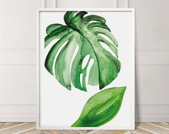 Large Leaf Exotic Green Plant Leaves Tropical Gallery Wall Art Giclee Poster Prints   Minimal Kitchen Living   Bedroom Home Decor Pictures