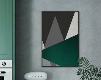 Abstract Emerald Green Triangles Print