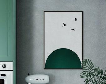 Abstract Emerald Green Rising Sun Birds Print