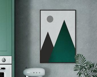 Abstract Emerald Green Mountain Moon Print