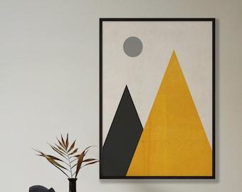 Abstract Mustard Moon Mountains Print