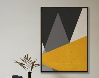 Abstract Mustard Large Triangles Print