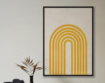 Abstract Mustard Rainbow Print