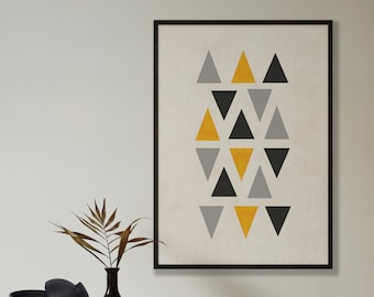 Abstract Mustard Triangles Print