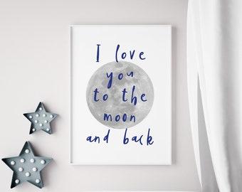 Moon and Back Navy Print