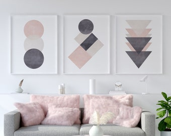 Set of 3 Pink & Grey Cotton Abstract Prints