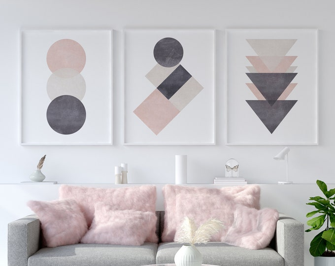 Featured listing image: Set of 3 Pink & Grey Cotton Abstract Prints