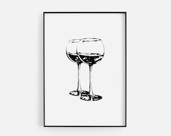 f9ead4a57 Black   White Wine Glasses Silhouette Print