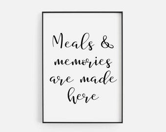 Memories Not Calories Funny Black Typography Kitchen Poster Print Home Wall Art