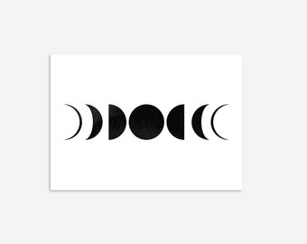 Mystical Moon Phases Watercolour Print