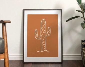 Autumn Burnt Orange Cactus Abstract Print