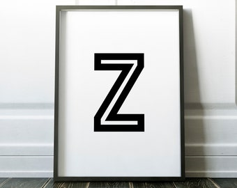 Letter Z Personalised Name Print Retro Bold Family Living Room Gallery Kids Play Room Typography Wall Art Colour Print   Custom Design Gift
